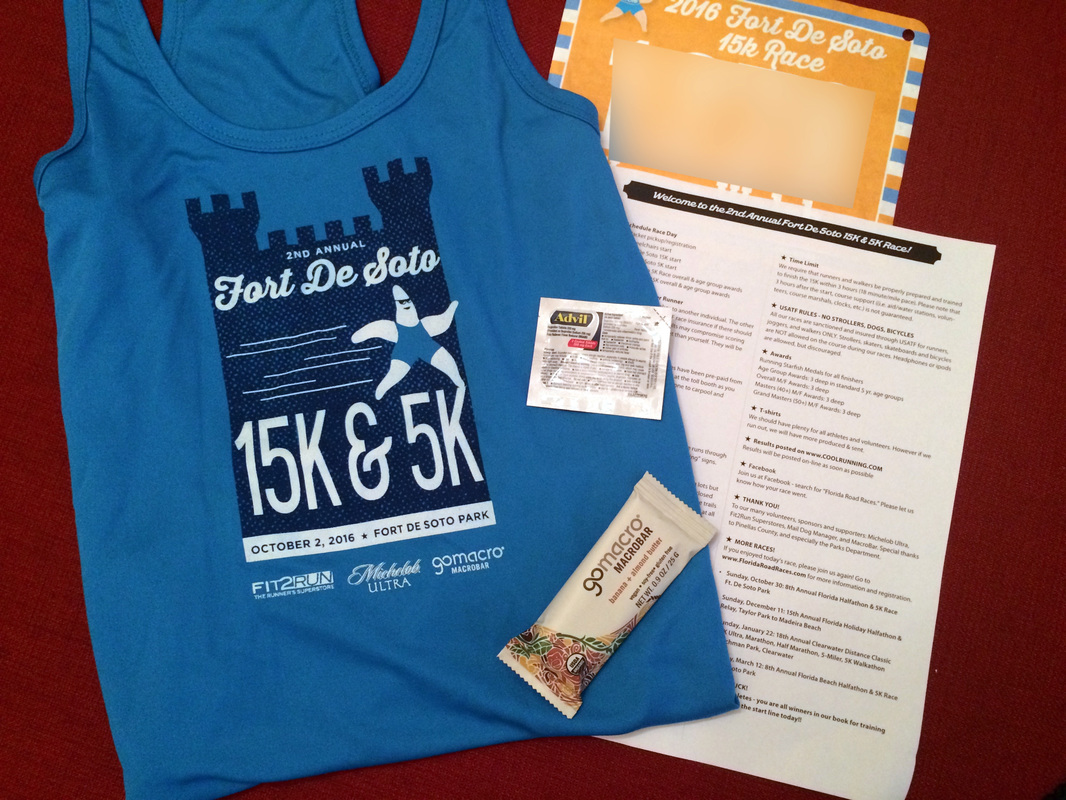 Photo of Ft DeSoto 15K goodie bag.
