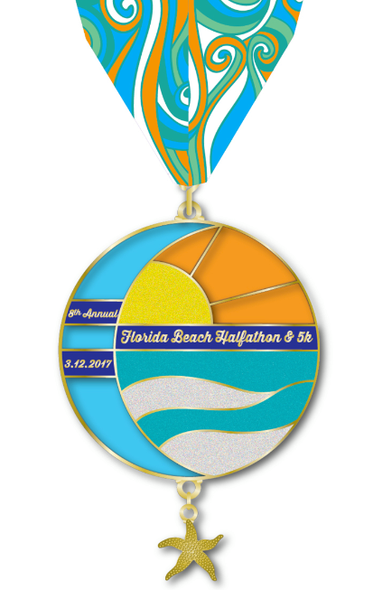 Medal for Florida Beach Halfathon on March 12, 2017 at Fort DeSoto..