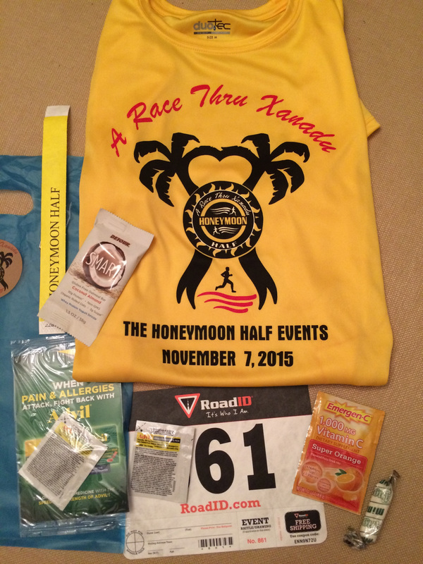 Picture of goodie bag runners received at Honeymoon Island Half.