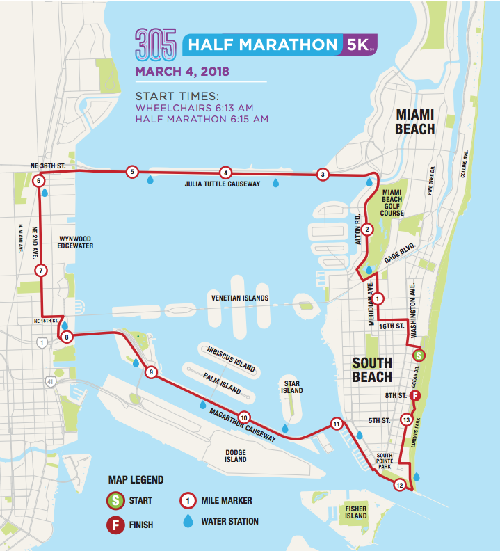 Course map for the 305 Half Marathon in Miami, Florida.