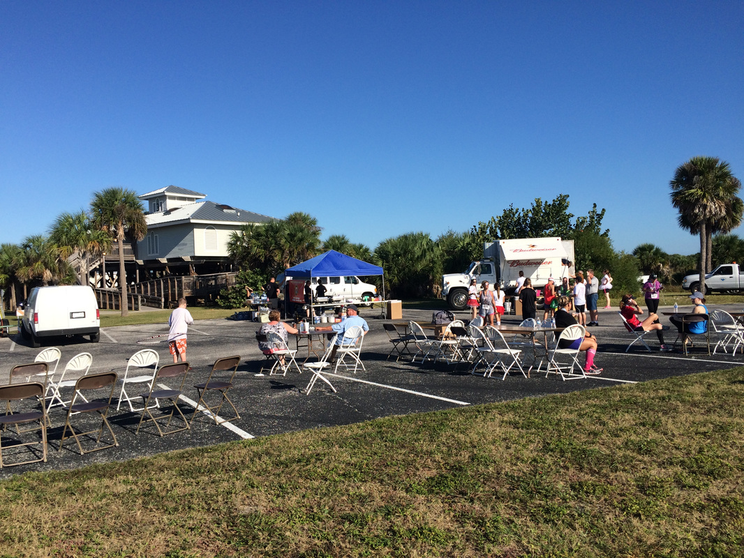 Photo of Honeymoon Island Half post race party area