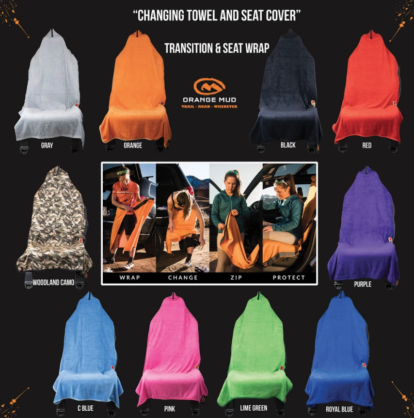 Orange Mud transition towel is available in 9 colors and camo pattern.