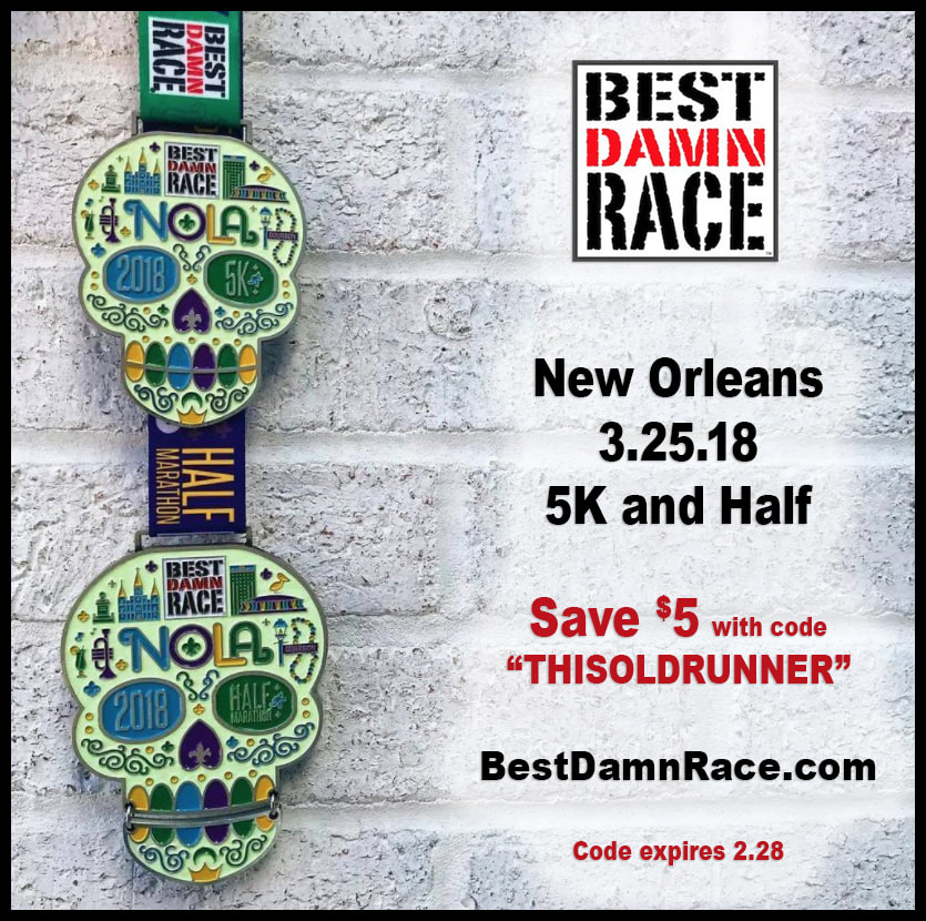5k and half marathon medals for Best Damn Race New Orleans.