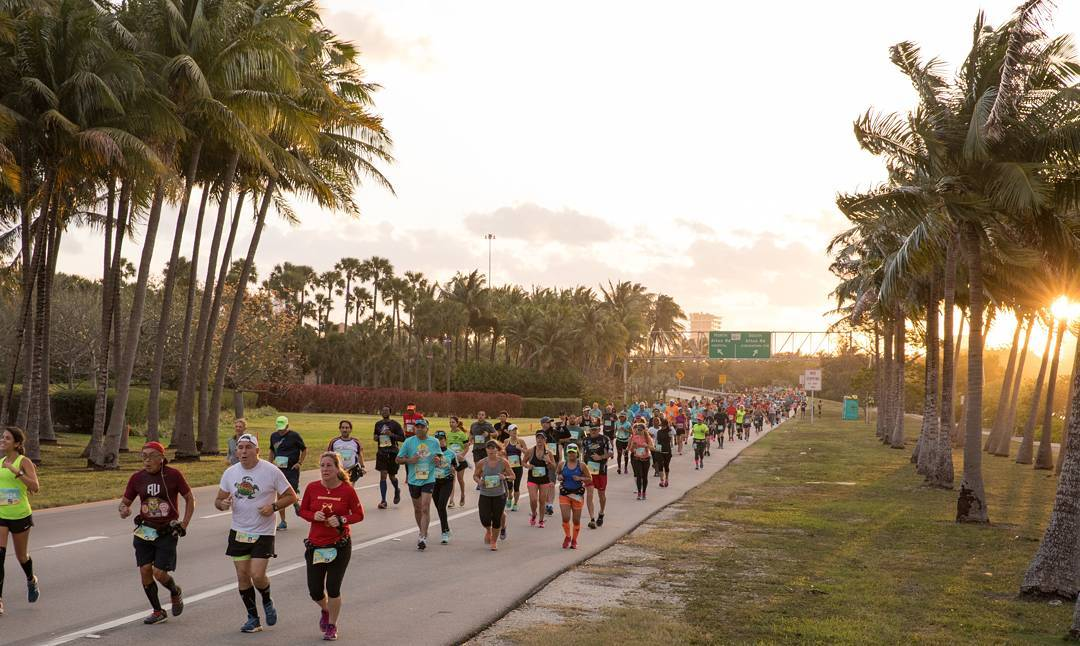 Half marathon runners in Miami.