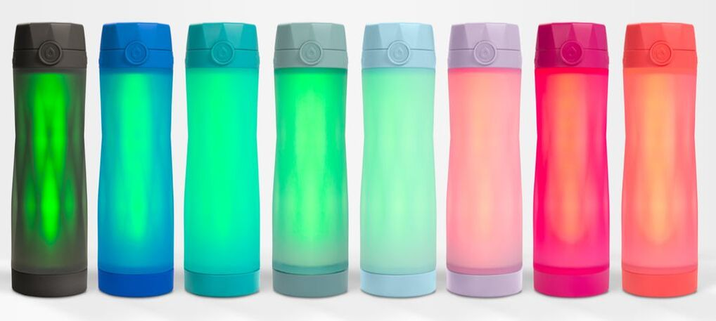 Lineup of all the Hidrate Spark water bottle colors.