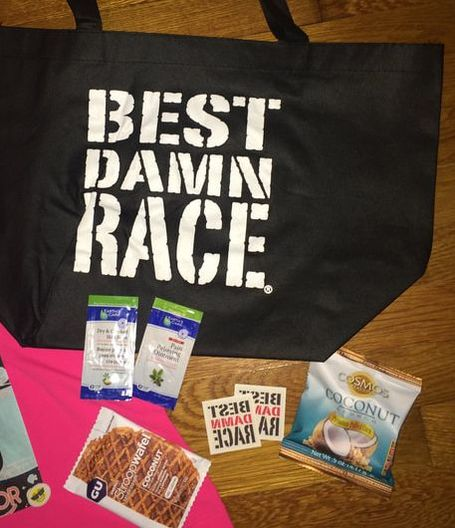 Goodie bag for challenge runners at Best Damn Race Safety Harbor.