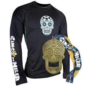 Image of Cinco de Miler long sleeve tech shirt and sugar skull race medal.