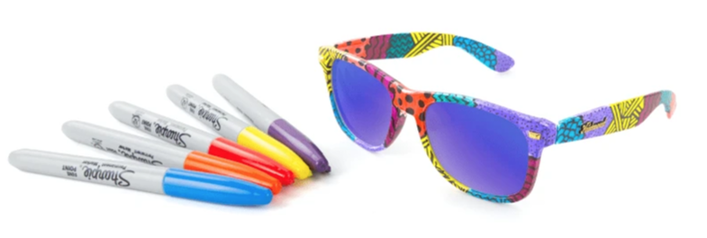 #ColorYourKnocks by Knockaround includes Fort Knocks sunglasses and Sharpie markers.