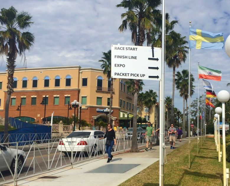 Directional signs for runners at the Best Damn Race in downtown Safety Harbor, FL