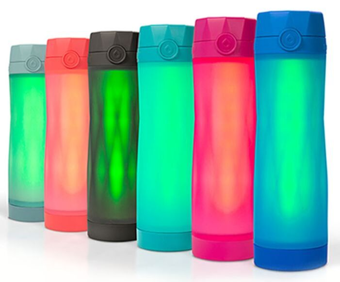 Photo of all six colors of Hidrate Spark smart water bottle. Storm, Coral, Black, Scuba, Pink, Royal Blue.