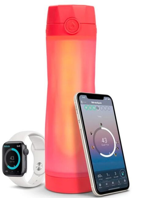 Coral Hidrate Spark water bottle next to fitness tracker and smartphone.