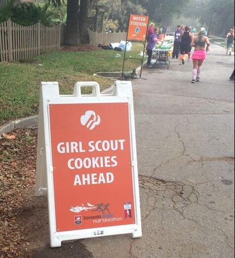 Girl Scout cookie aid station during the Sarasota Music Half Marathon.