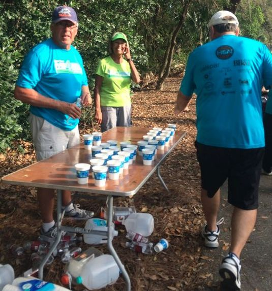 Water aid station at mile 2 of the Par4Miler race.