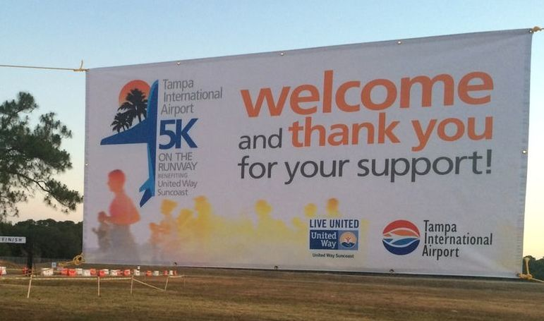 Welcome banner at 2017 5K on the Runway in Tampa.