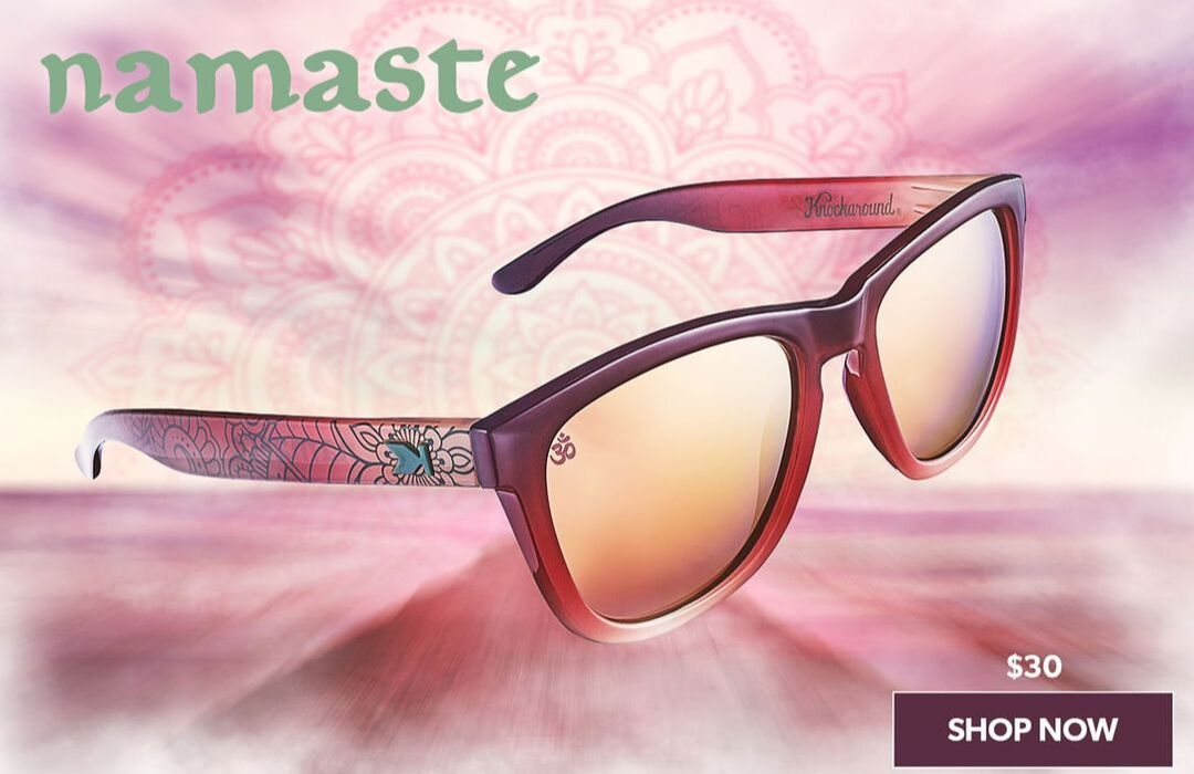 Image of Namaste sunglasses with rose gold lenses.