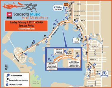 Scenic race course for the 2017 Sarasota Music Half Marathon