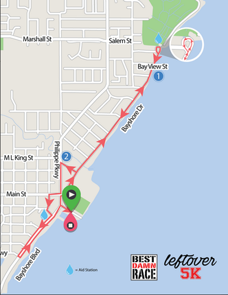 5K Race Course for Best Damn Race Leftover 5k in Safety Harbor.