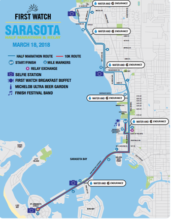 Course map for First Watch Sarasota Half Marathon and Relay.