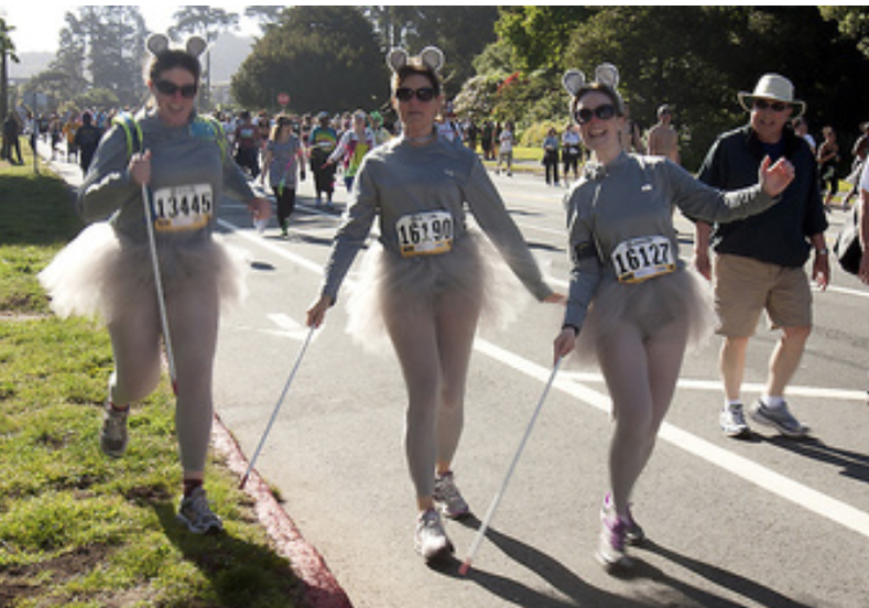 Runners as 3 Blind Mice in a race.