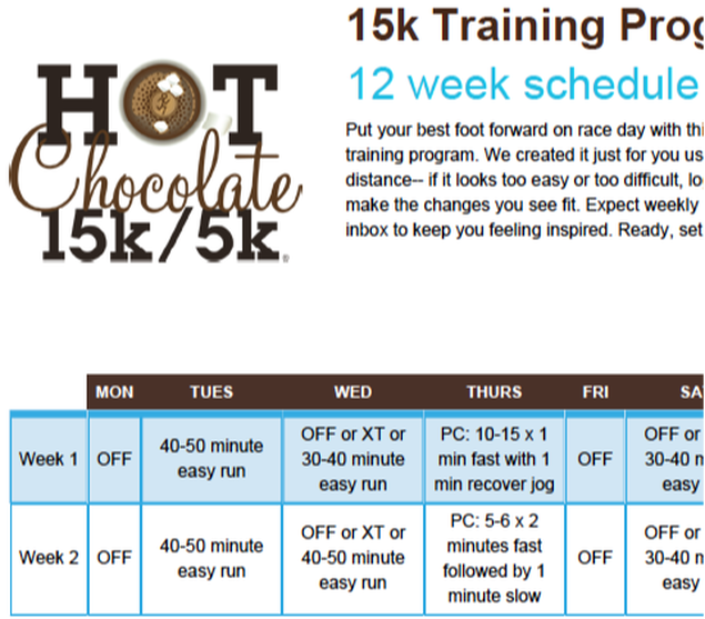 Free 12 week training schedule for Hot Chocolate 15K in Tampa