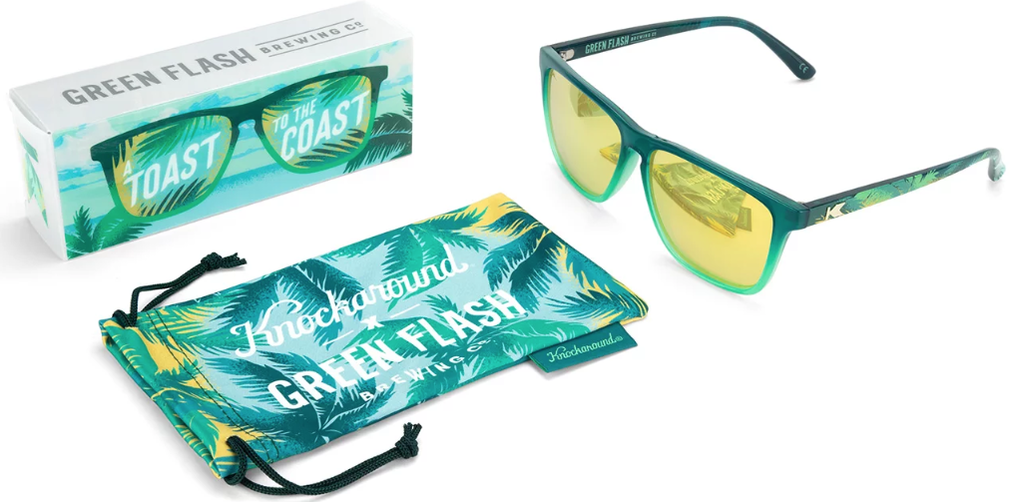 Photo of sunglasses, protective bag, and product box for Knockaround custom sunglasses.