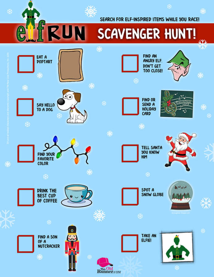Elf Virtual Run Scavenger Hunt List with pictures of holiday items to find. Download it to your phone or print it.