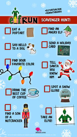 Elf Run Scavenger Hunt List.