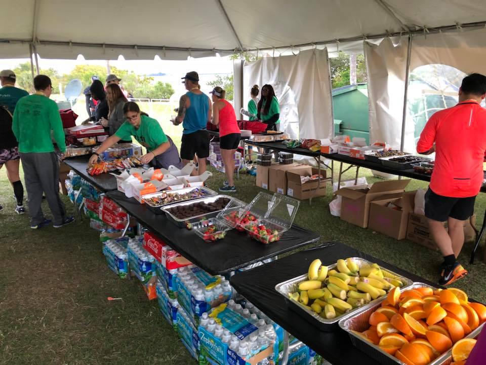 Food tent for runners at the Best Damn Race in Safety Harbor, FL