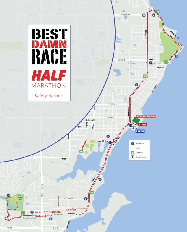 2020 half marathon map for the Best Damn Race in Safety Harbor, Florida.