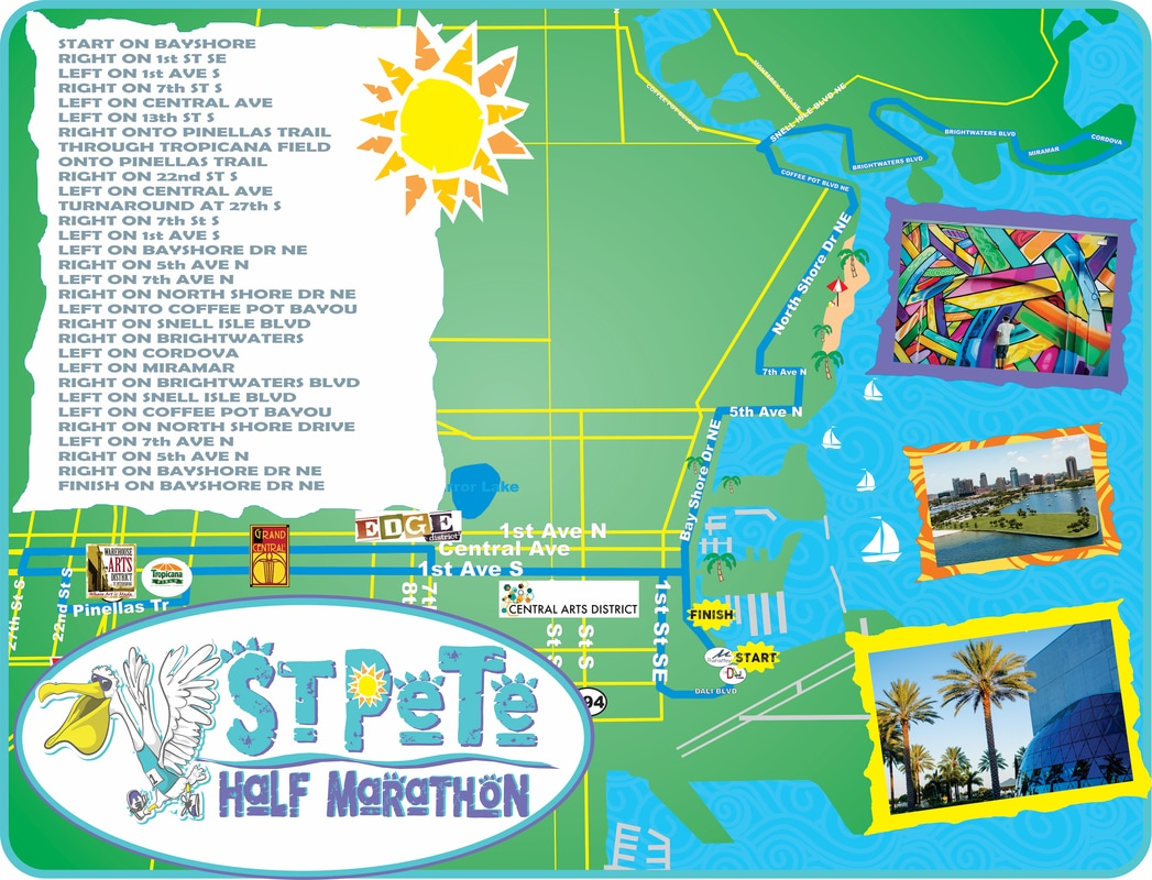 St Pete Run Fest Half Marathon Course.