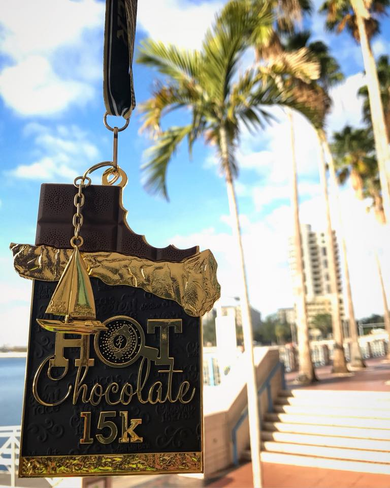 2017 race medal for Hot Chocolate race in Tampa, FL.