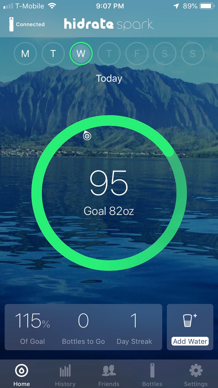 Screen shot of water consumption for a day.