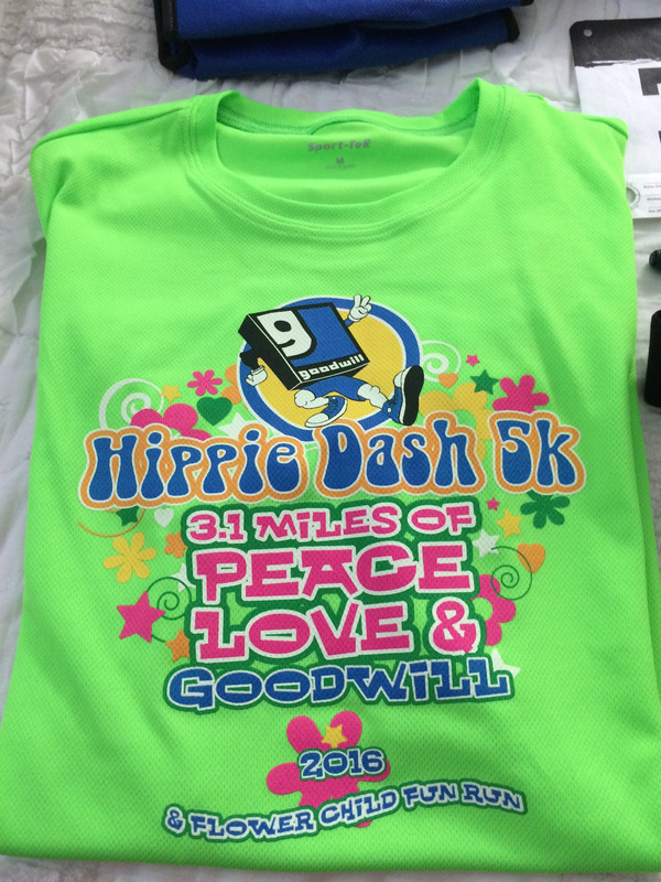 Race shirt for the 2016 Hippie Dash in Gulfport, FL.