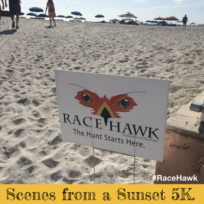 Race Hawk 5K on beach at sunset.