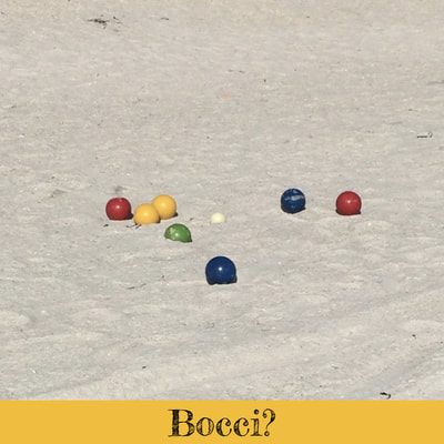 Bocci balls on sand at Madeira Beach, Florida