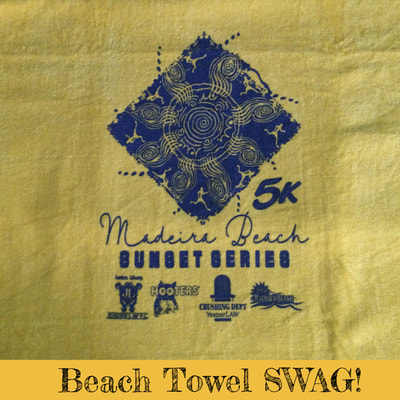 Beach towel from Madeira Beach 5K Sunset Series.
