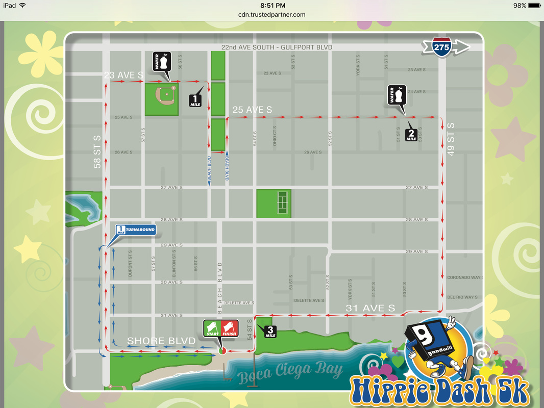 Map of the Hippie Dash 5k Race Course