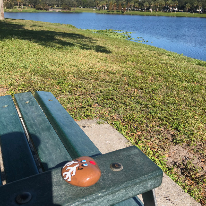 Painted holiday rock left at a park.