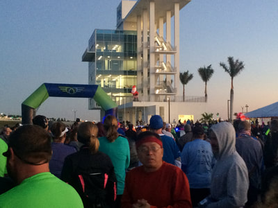 Runners at start line of Florida West Coast Half in Sarasota, FL.