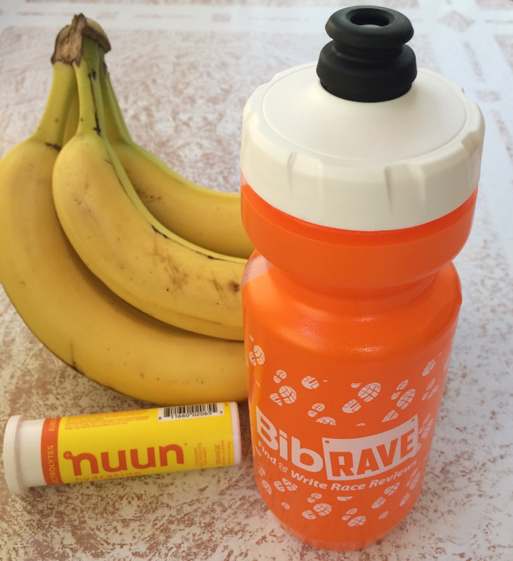 Bananas, Nuun electrolytes and water bottle.