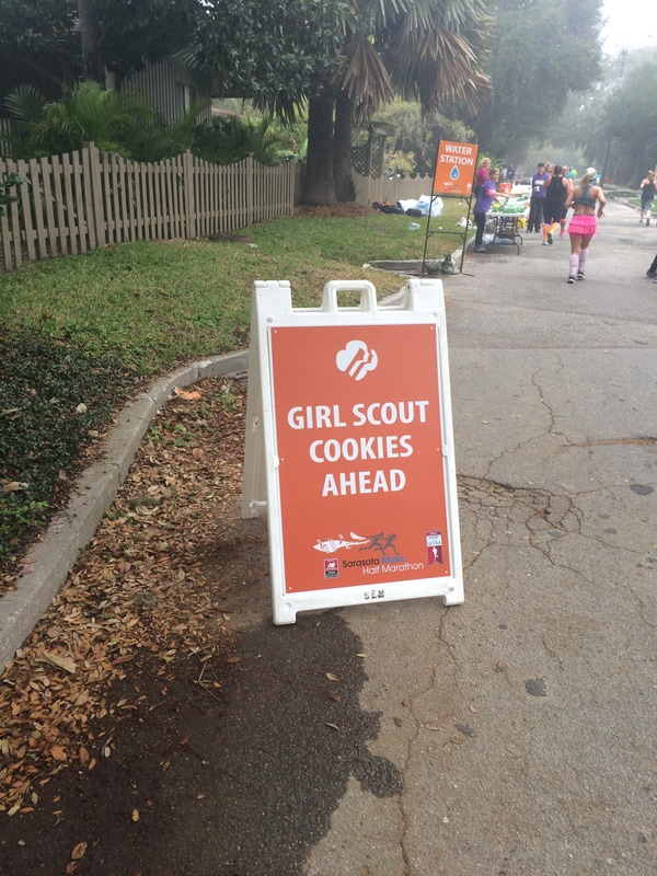 Girl Scout Cookie Aid Station for 2017 Sarasota Music Half Marathon