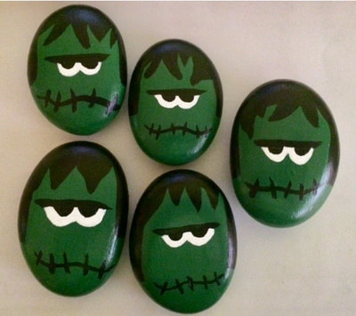 Frankenstein painted rocks.