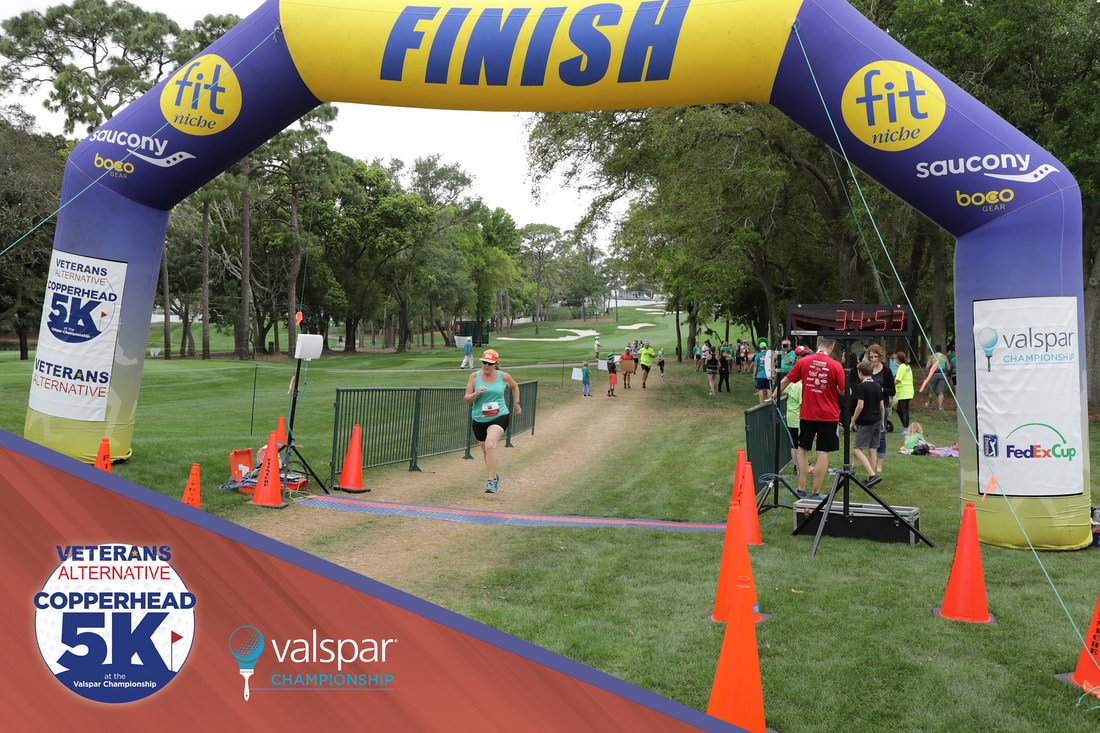 Finish line photo at the Copperhead 5K at the Valspar Championship.