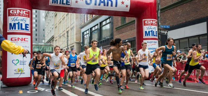 Starting line of The Liberty Mile in downtown Pittsburgh, PA