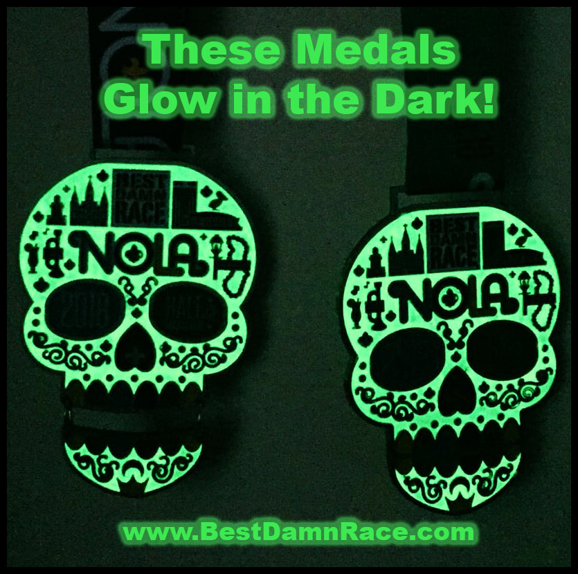 Best Damn Race 2018 New Orleans Medals Glow in the Dark