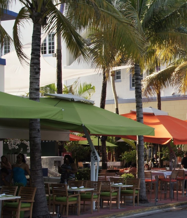 View of restaurants on South Beach's Ocean Drive.