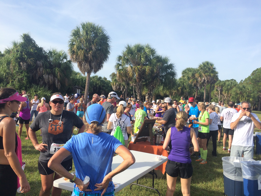 2016 participants eat and drink after the Weedon Island Trail Run.