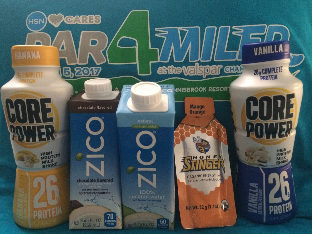 The Par4Miler post race party had protein shakes and coconut water.