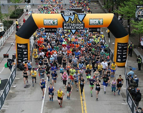 Starting line of the Pittsburgh Half and Marathon