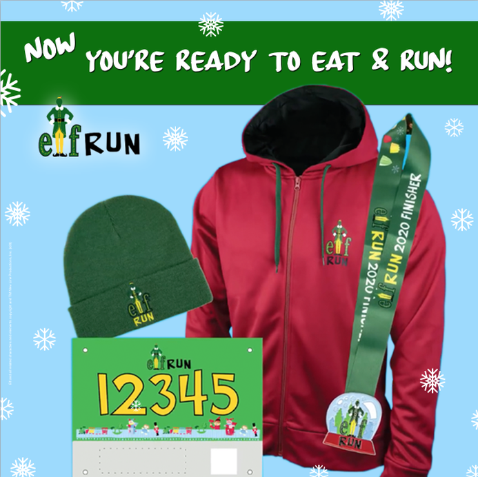 Elf Virtual Run swag includes a beanie, zip up hoodie, race bib, and snow globe style medal.